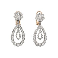 Estate Betteridge Collection Old Mine Cut Diamond Pear-Shaped Pendant Earrings - Old miner's are the epitome of elegance & romance...IMO!