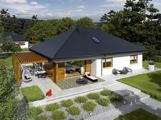Zdjęcie projektu Astrid G2 energo WRC2588 Bungalow House Plans, Design Case, Architect Design, Malaga, Gazebo, Sweet Home, House Design, Outdoor Structures, House Styles
