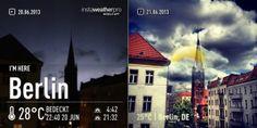 INSTAWEATHER PRO - Mit der App InstaWeather Pro lassen sich Urlaubsgrüße mit Ort und Wetterdaten versenden. Das linke Bild zeigt die letzte Gewitternacht, das rechte Foto ist noch mit der App Instagram nachbearbeitet worden und zeigt den Mittag danach. Die Auflösung von gerade einmal 640 x 640 Pixeln trübt den Spaß leider.