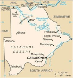 Map of Botswana, 2012. © CIA World Factbook