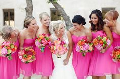 Wow - amazing hot pink bridesmaid dresses!  So cute!!  What do you gals think about pink