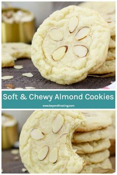 My Almond Cookies are crisp on the edges and soft and chewy in the center. They are loaded with almond flavor and definitely remind me of sugar cookies. This easy recipe for Soft and Chewy Almond Cookies is a keeper! ~ Beyond Frosting Soft Almond Cookies, Honey Cookies, Tea Cookies, Amaretti Cookies, Yummy Cookies, Chocolate Cookies, Easy Cookie Recipes, Dessert Recipes, Diet Recipes