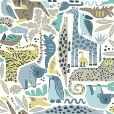 The wallpaper Dwell Studio Baby & Kids - from York is a wallpaper with the dimensions x m. The wallpaper Dwell Studio Baby & Kids - Illustration Jungle, Pattern Illustration, Animal Illustrations, Cute Wild Animals, Jungle Animals, Kids Wallpaper, Wallpaper Roll, Nursery Wallpaper, Wallpaper Patterns