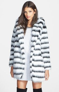 GLAMOROUS Stripe Faux Fur Coat available at #Nordstrom