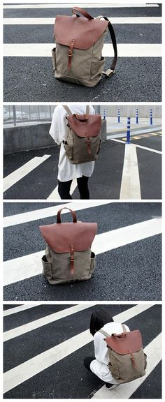 Handmade Original Design Canvas Leather Backpack 14'' Laptop Backpack Travel Backpack School Backpack MY15 -------------------------------- Style: Selection of the finest waxed canvas, advanced cotton