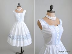 1950s Bavarian sundress.  http://www.etsy.com/listing/97276010/vintage-1950s-dress-50s-white-bavarian  #vintage #dress #1950s