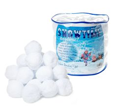 Snowtime Anytime Indoor Snowball Fight, 25 Pack Snowballs with Storage Bucket, Exclusive Limited Edition