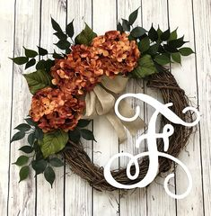 Pink Wreath, Hydrangea Wreath, Bow Wreath, Grapevine Wreath, Wreaths For Front Door, Door Wreaths, Magnolia Wreath, Monogram Wreath, Holiday Wreaths
