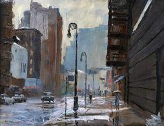 New York-Rainy Street Scene (62) | by Peter Hayward (1905-1993) #PeterHayward #Oil #CedarStreetGalleries
