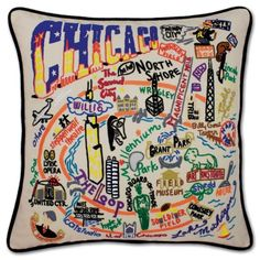 CHICAGO HAND-EMBROIDERED PILLOW - hand-embroidered - pillows - shop