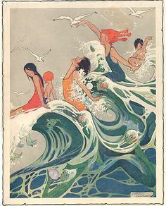 1910 Vintage Young Women and Mermaids Frolicking in the Big Ocean Waves Illustration Print. $13.95, via Etsy.