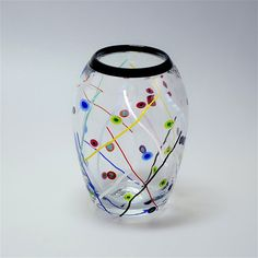 """Michael Hunter for Twists Glass """"Tutti Frutti"""" vase from Scarab Antiques"""