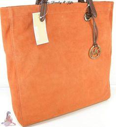 Michael Kors Purse XL Tote Genuine Suede Leather Persimmon Shoulder Hand Bag | eBay