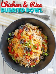 Crock Pot Chicken and Rice Burrito Bowl recipe from The Country Cook