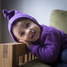 Joha wool fleece hooded jumper purple 9m-4 y