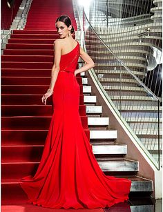 Trumpet/Mermaid One Shoulder Sweep/Brush Train Chiffon Evening Dress – USD $ 119.99