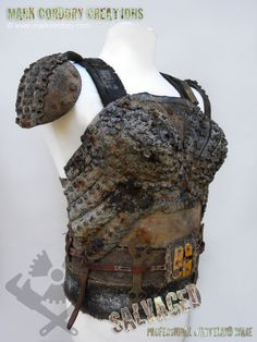 Post Apocalyptic costume - tyre armour breastplate with canvas corset. SALVAGED Ware enquiries welcome @ www.markcordory.com