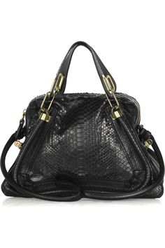 Chloé | Paraty Medium python and leather shoulder bag | NET-A-PORTER.COM