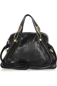 Chloé|Paraty Medium python and leather shoulder bag|NET-A-PORTER.COM