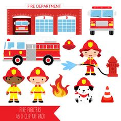Firefighter Clipart / Fire Fighter / Fireman / Fire by ClipArtisan