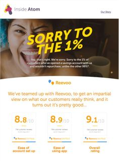 b0824a4d1365 Atom Bank leverages Reevoo content in this newsletter Email Campaign