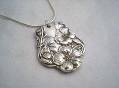 BERWICK 1904 (LG) - Antique Spoon Necklace / Pendant Upcycled Silverplate - Silverware Jewelry $15.99