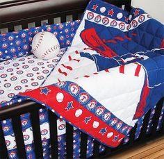 Texas Rangers MLB Licensed Baby Nursery Quilted 5 Piece Crib Bed Set...