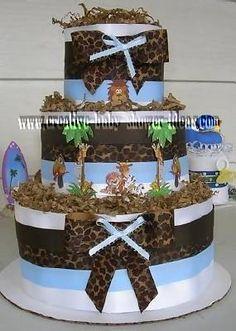 Diaper cake for baby shower.