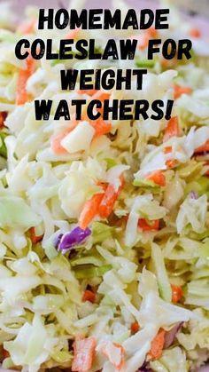 Healthy Coleslaw Recipes, Coleslaw Recipe Easy, Homemade Coleslaw, Easy Pasta Salad Recipe, Ww Recipes, Veggie Recipes, Cooking Recipes, Skinny Recipes, Salads