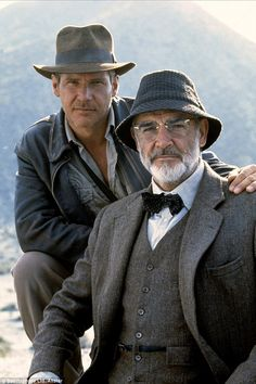 """Dr (Henry) 'Indiana' Jones Jnr and Professor Henry Jones Snr. ( Harrison Ford and Sean Connery) from """"Indiana Jones And The Last Crusade"""". Hollywood Stars, Indiana Jones Last Crusade, Film Mythique, Henry Jones, Actrices Hollywood, Marlon Brando, Great Movies, Famous Faces, Movie Stars"""