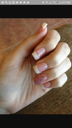 Acrylic nails simple french tip glitter pink my fall nail tips. Glitter Tip Nails, White Tip Nails, Silver Nails, Pink Nails, My Nails, White Nail, French Acrylic Nails, Simple Acrylic Nails, French Tip Nails