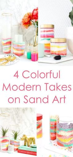 4 Modern takes on Adult Sand Art - bath scrub, terrarium, sand art cake, and sand art candle hurricane. Craft - home decor - home DIY- A Kailo Chic Life: DIY It - Sand Art Decor Crafts For 3 Year Olds, Arts And Crafts For Teens, Art And Craft Videos, Crafts For Kids, Diy Home Decor Projects, Home Crafts, Sand Art Crafts, Ocean Crafts, Decoration