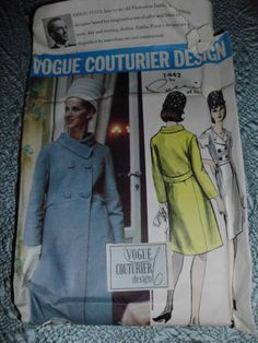 Vintage Vogue Couturier sewing pattern Pucci coat & dress V1442 w/ label Size 12/32 uncut sold 9/24/13 for 49.98+2.5