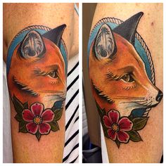 Neo traditionel fox Tattoo of the day