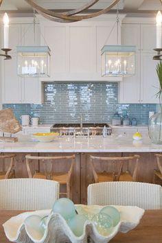 Blue backsplash and light Meredith McBrearty - PORTFOLIO - Florida beach house- white and blue kitchen Beach Cottage Style, Beach House Decor, Coastal Style, Coastal Decor, Coastal Furniture, Coastal Cottage, Coastal Living, Coastal Interior, House Furniture