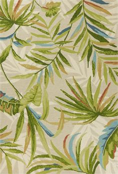 KAS Rugs Sand Harbor X Tropical Palm Island Botanical Indoor / Outdoor Rug Tropical Rugs, Tropical Home Decor, Tropical Houses, Tropical Furniture, Tropical Colors, Tropical Interior, Tropical Flowers, Tropical Pattern, Indoor Outdoor Area Rugs
