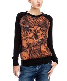 Look what I found on #zulily! Black & Orange Floral Raglan Top #zulilyfinds