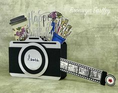Camera Box Card with Slider Fun Fold Cards, 3d Cards, Folded Cards, How To Make Camera, 21st Birthday Cards, Happy Birthday, Camera Cards, Pop Up Box Cards, Interactive Cards