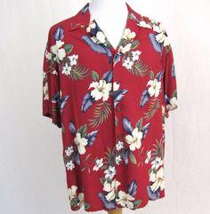 Iolani Hawaiian Shirt XL Red Floral Hibiscus Blue Ferns 100% Rayon Aloha Camp #Iolani #Hawaiian