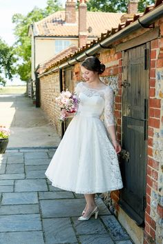 A fabulous Fur Coat No Knickers dress for a flower-filled Norfolk countryside wedding. Images by Fuller Photography. Wedding Dresses London, Wedding Dresses For Girls, Dresses Uk, Girls Dresses, Fifties Fashion, Fifties Style, 1960s Inspired, Quirky Wedding, Countryside Wedding