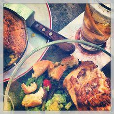 Trifecta of corn bread, salmon salad & iced tea #summer #salmon #DC #FoundingFarmers (Photo Credit to @K O)