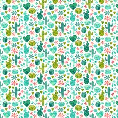 Cacti in watercolors (mini) fabric by heleen_vd_thillart on Spoonflower - custom fabric