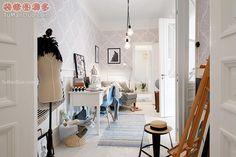 春天般的瑞典公租房白色现代北欧小户型卧室实景图书桌