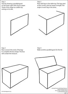 perspective drawing lesson: treasure chest