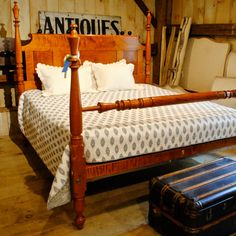 <p>Antique Trumpet Top Bed in Tiger Maple, Resized to King. Panelled rollback headboard. Posts circa 1820</p>