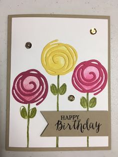 Swirly Bird, Garden in Bloom, Rose Wonder, Birthday Card, Stampin' Up!, Rubber Stamping, Handmade Cards