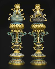 A PAIR OF CLOISONNE ENAMEL AND GILT-BRONZE SYMBOLIC OFFERINGS CHINA, QING DYNASTY, 19TH CENTURY