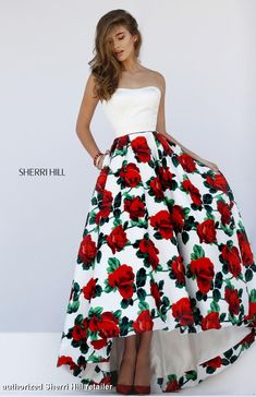 50027 Sherri Hill. Sherri Hill prom. Prom 2016. White and red prom dress. floral print prom dress.