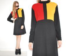 vintage 90s dress black knit yellow red mondrian color block mod twiggy mini dress 1990s 90s clothing L