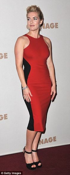 Kate Winslet showcases her hourglass figure in Stella McCartney's optical illusion dresses...